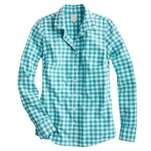 J. Crew The Perfect Shirt in Teal Gingham